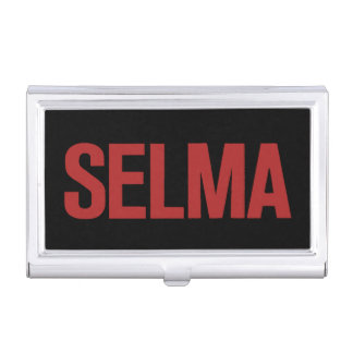 MLK Day-Selma-Red on Black Business Card Holder