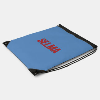MLK Day-Selma Red on Blue Drawstring Bags