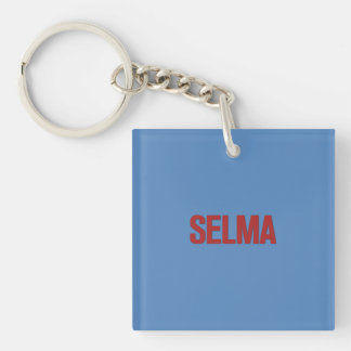 MLK Day-Selma Red on Blue Single-Sided Square Acrylic Keychain