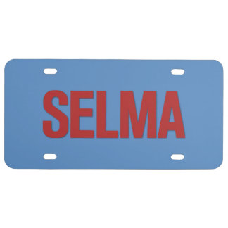 MLK Day-Selma Red on Blue License Plate