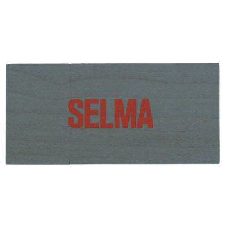 MLK Day-Selma Red on Blue Wood USB 2.0 Flash Drive
