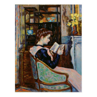 Mlle. Guillaumin reading, 1907 Postcard