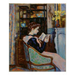 Mlle. Guillaumin reading, 1907 Poster