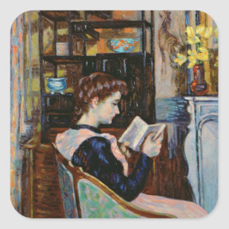 Mlle. Guillaumin reading, 1907 Square Sticker