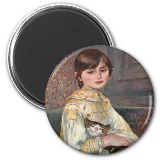 Mlle. Julie Manet with Cat 2 Inch Round Magnet