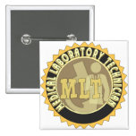 MLT BADGE MEDICAL LABORATORY TECHNICIAN 2 INCH SQUARE BUTTON