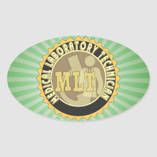 MLT BADGE MEDICAL LABORATORY TECHNICIAN OVAL STICKER
