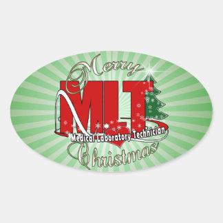 MLT CHRISTMAS MEDICAL LABORATORY TECH OVAL STICKER