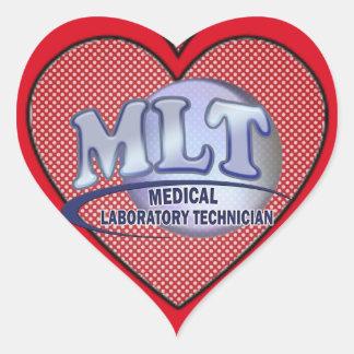 MLT FunBlue LOGO - MEDICAL LABORATORY TECHNICIAN Heart Sticker