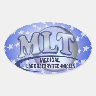 MLT FunBlue LOGO - MEDICAL LABORATORY TECHNICIAN Oval Sticker