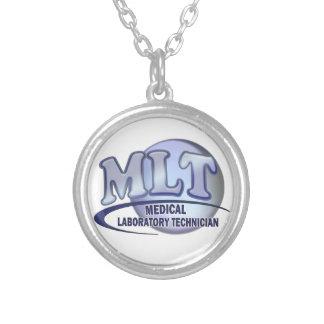 MLT FunBlue LOGO - MEDICAL LABORATORY TECHNICIAN Round Pendant Necklace