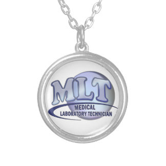 MLT FunBlue LOGO - MEDICAL LABORATORY TECHNICIAN Silver Plated Necklace