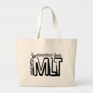 MLT GRUNGE TEXT MEDICAL LABORATORY TECHNICIAN LARGE TOTE BAG
