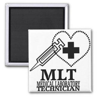 MLT HEART SYRINGE MEDICAL LAB TECH LOGO 2 INCH SQUARE MAGNET