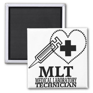 MLT HEART SYRINGE MEDICAL LAB TECH LOGO MAGNET