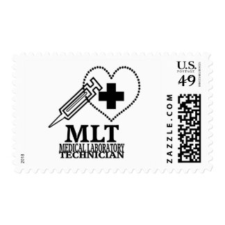 MLT HEART SYRINGE MEDICAL LAB TECH LOGO POSTAGE