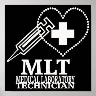 MLT HEART SYRINGE MEDICAL LABORATORY TECH LOGO POSTER