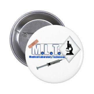 MLT LOGO W/ MICROSCOPE - MEDICAL LABORATORY TECH BUTTON