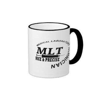 MLT SLOGAN NICE AND PRECISE MEDICAL LAB TECH RINGER COFFEE MUG