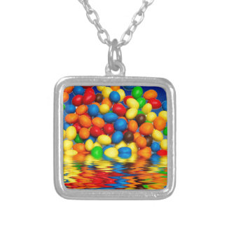 MM chocolate sweets Silver Plated Necklace