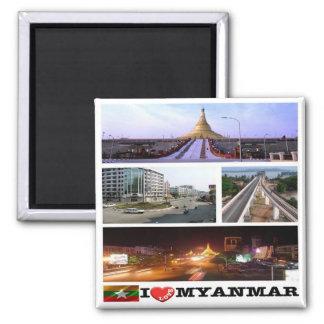 MM - Myanmar Burma - Myanmar - I Love - Collage 2 Inch Square Magnet