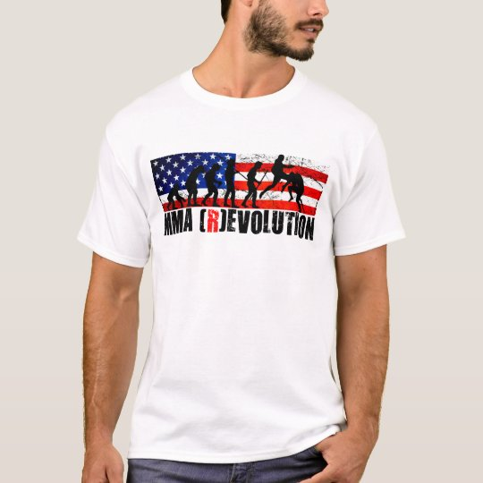 MMA Evolution Chart (Flying Knee)  American Flag T T-Shirt