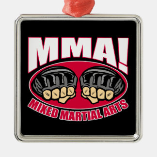 MMA Fists Square Metal Christmas Ornament