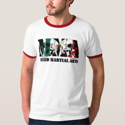MMA Mixed Martial Arts Mexico Flag & Skulls Tee Shirt
