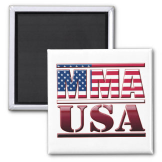 MMA Mixed Martial Arts USA Flag 2 Inch Square Magnet
