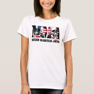 MMA Mixed Martial Arts USA Flag & Skulls T-Shirt