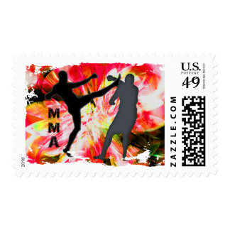 MMA Silhouettes in Red Explosion Postage