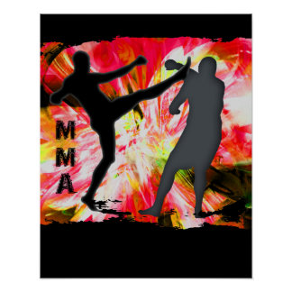 MMA Silhouettes in Red Explosion Poster