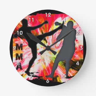 MMA Silhouettes in Red Explosion Round Clock