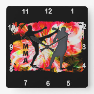 MMA Silhouettes in Red Explosion Square Wall Clock