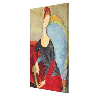 Mme Hebuterne en una Chair azul, 1918 Impresion En Lona