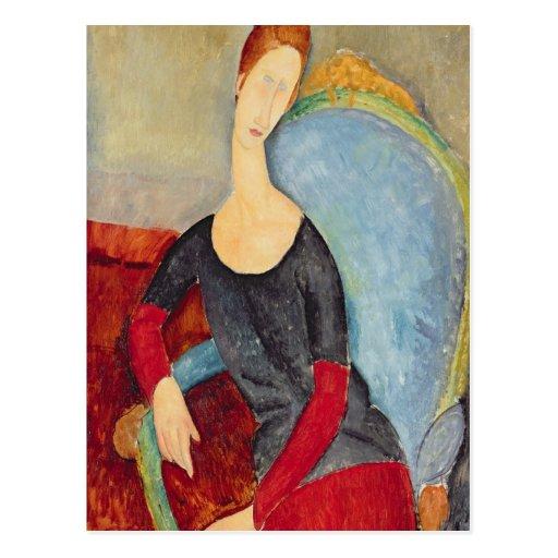 Mme Hebuterne en una Chair azul, 1918 Postal