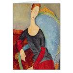 Mme Hebuterne en una Chair azul, 1918 Felicitaciones