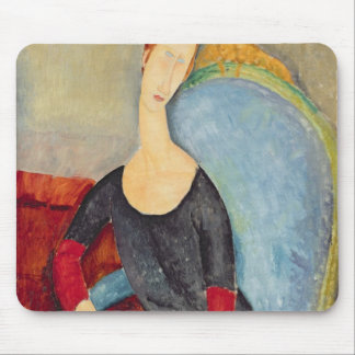 Mme Hebuterne in a Blue Chair, 1918 Mouse Pad