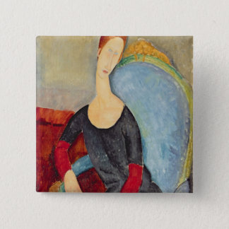 Mme Hebuterne in a Blue Chair, 1918 Pinback Button