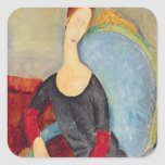 Mme Hebuterne in a Blue Chair, 1918 Square Sticker