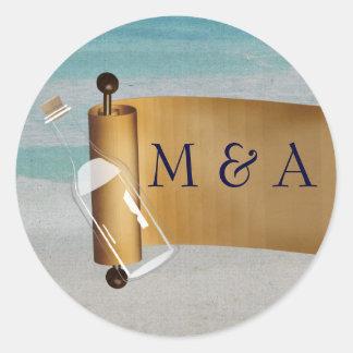 Mmessage in a bottle Beach Wedding Stationery Classic Round Sticker