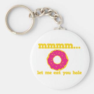 mmm let me eat you hole doughnut design keychain