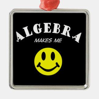 MMS: Algebra Square Metal Christmas Ornament