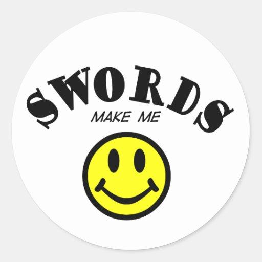MMS: Espadas Pegatina Redonda