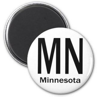 MN Minnesota plain black 2 Inch Round Magnet