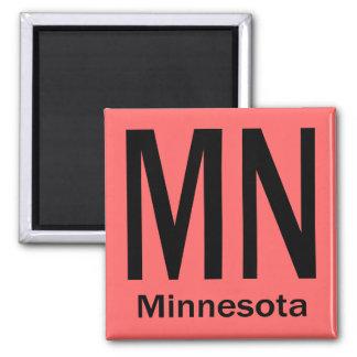 MN Minnesota plain black 2 Inch Square Magnet