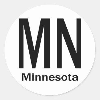 MN Minnesota plain black Round Sticker