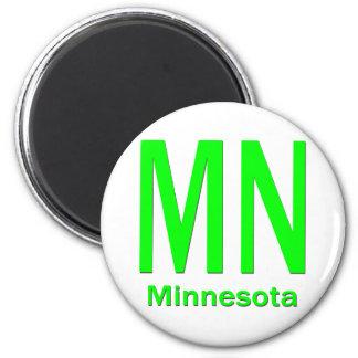 MN Minnesota plain green 2 Inch Round Magnet