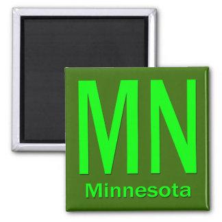 MN Minnesota plain green 2 Inch Square Magnet