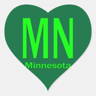 MN Minnesota plain green Heart Sticker
